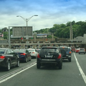 Approaching the toll booths for the Lincoln tunnel
